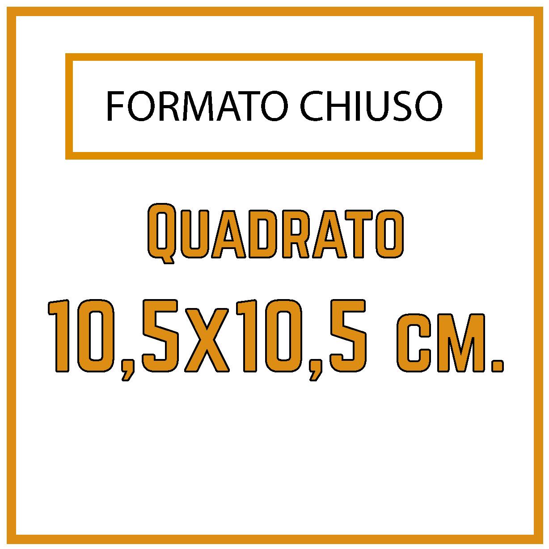 Formato 10,5 x 10,5 cm.